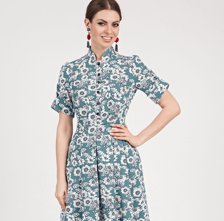 ELEGANT SHORT SLEEVE STAND COLLAR A-LINE DRESS | SRIMOYEE FASHION WORLD