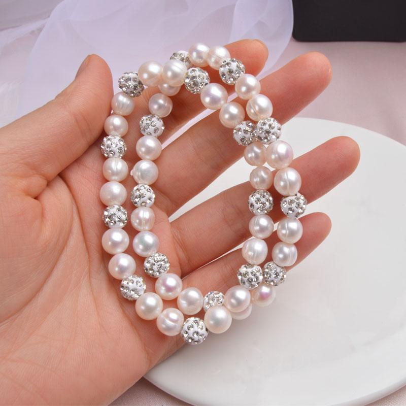 Freshwater Pearl Bracelets With White Clay Zircon Ball