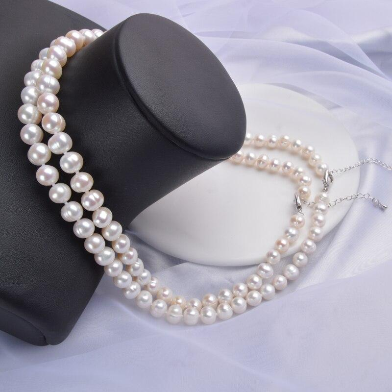NATURAL FRESHWATER WHITE NEAR ROUND PEARL NECKLACE 8-9mm | SRIMOYEE FASHION WORLD