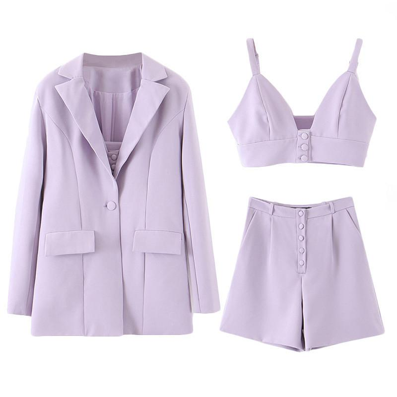 High Street Solid Three Piece Set Tops & Shorts With Suit Blazer