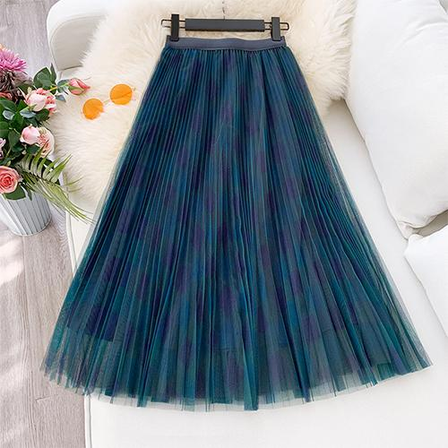 NEW ELEGANT A LINE HIGH WAIST PLEATED MAXI SKIRT