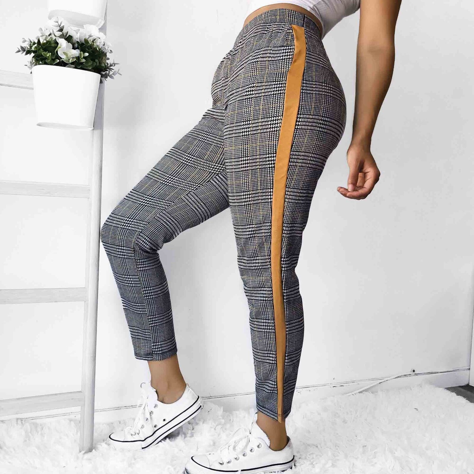 CASUAL STRETCH SKINNY PLAID SLIM JOGGERS PENCIL TROUSERS | SRIMOYEE FASHION WORLD