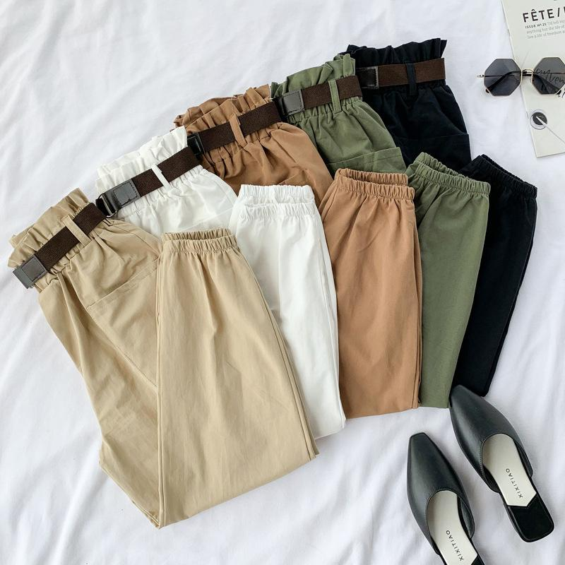 Elastic High Waist Belt Pocket Ankle Length Cotton Cargo Pants