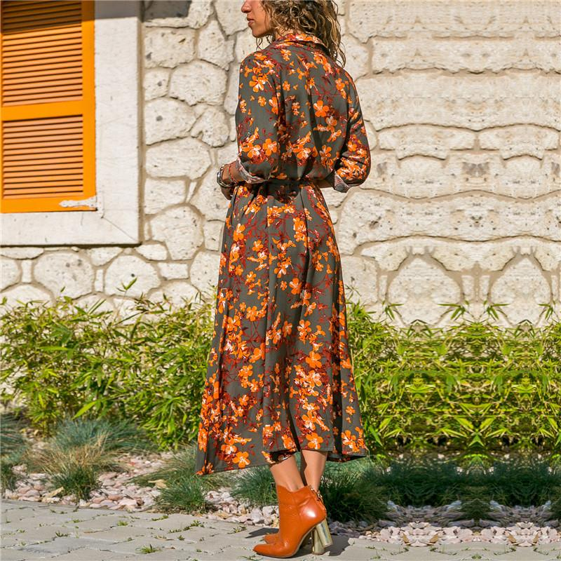 Floral Print Boho Long Sleeve Turn Down Collar Dress