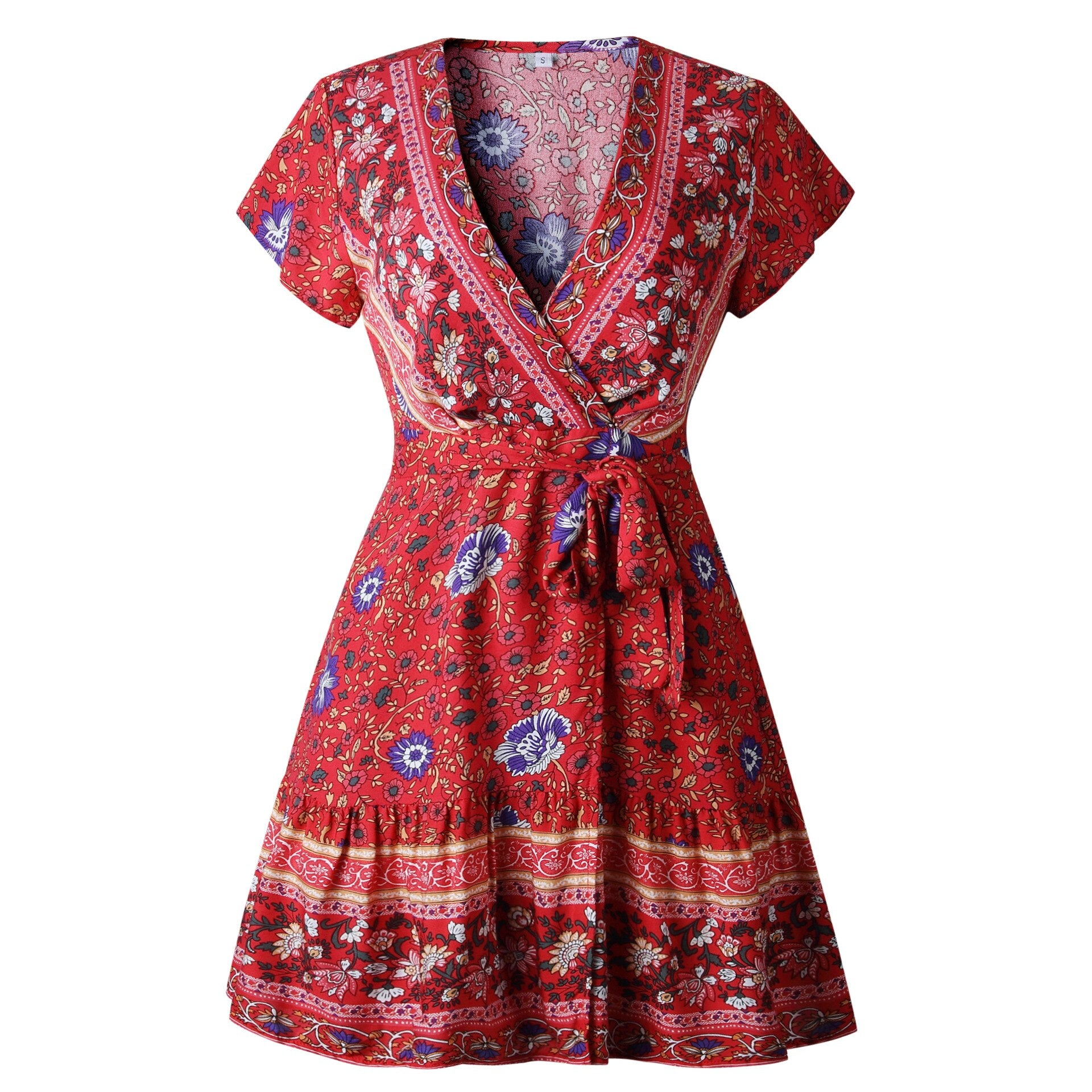 NEW FLORAL PRINT BOHEMIAN MINI SHORT SUMMER DRESS