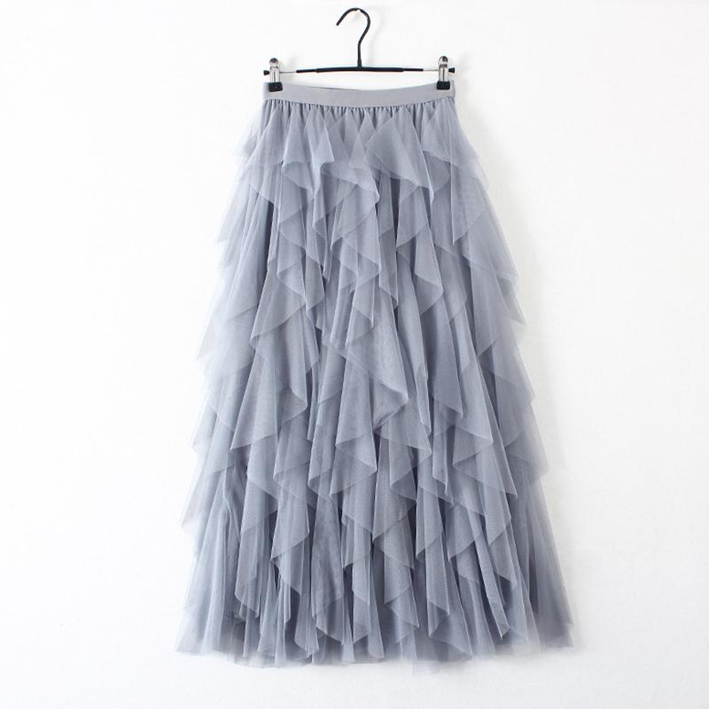 HIGH WAIST PLEATED TUTU TULLE LONG MAXI SKIRT