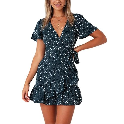 RUFFLES POLKA DOT V-NECK TUNIC BOHO WITH BELT DRESS | SRIMOYEE FASHION WORLD