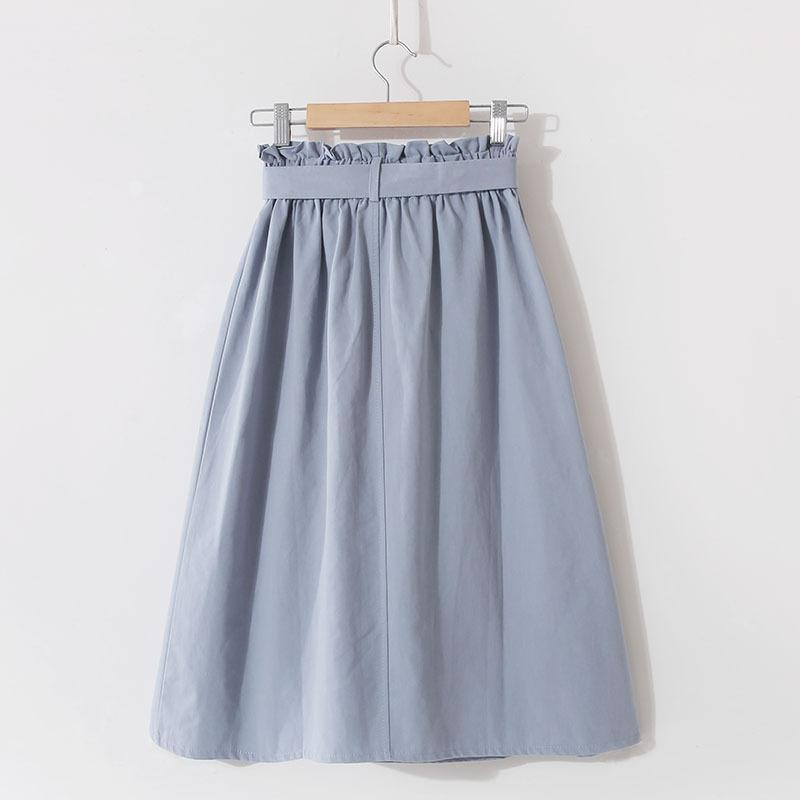 Bow Belt Pocket A Line High Waist Knee Length Skirt