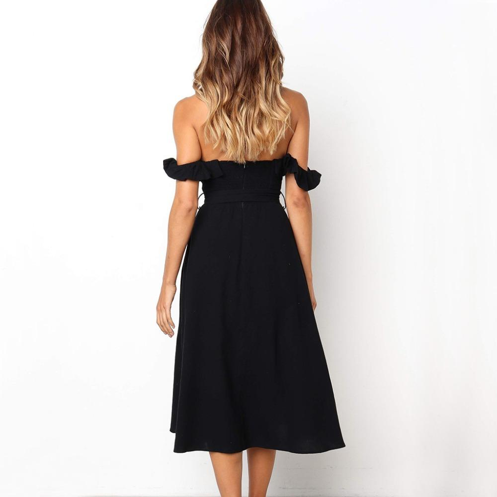 Elegant Off Shoulder Strapless Cotton Dress