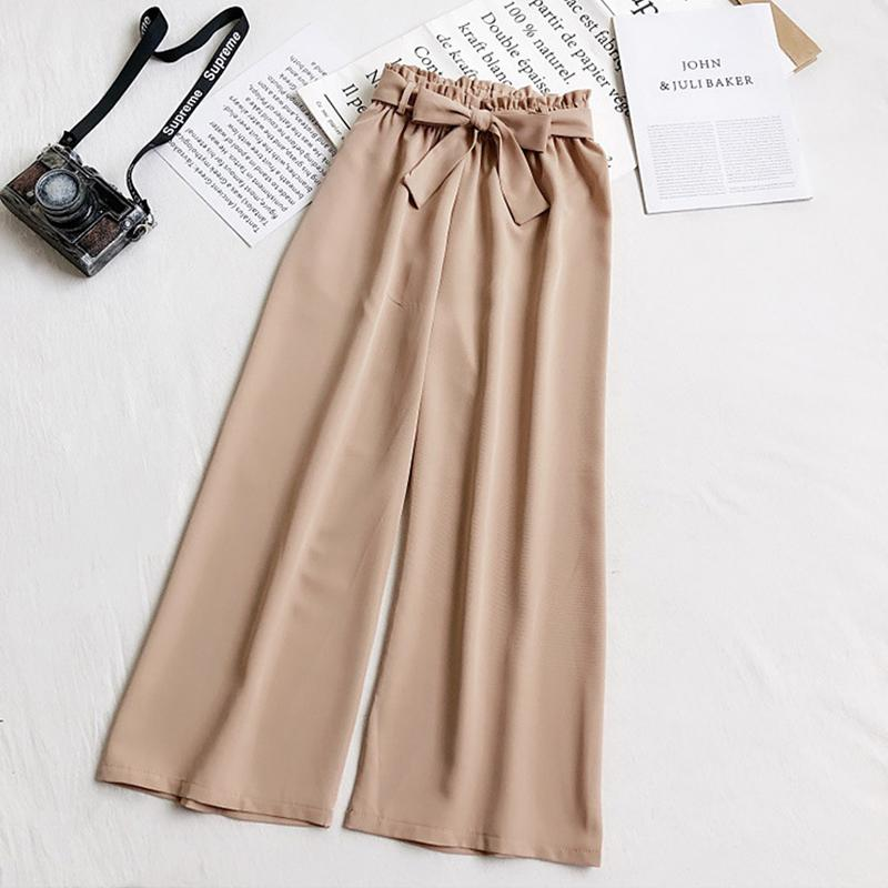 Bow Belt Loose High Waist Ankle Length Trousers