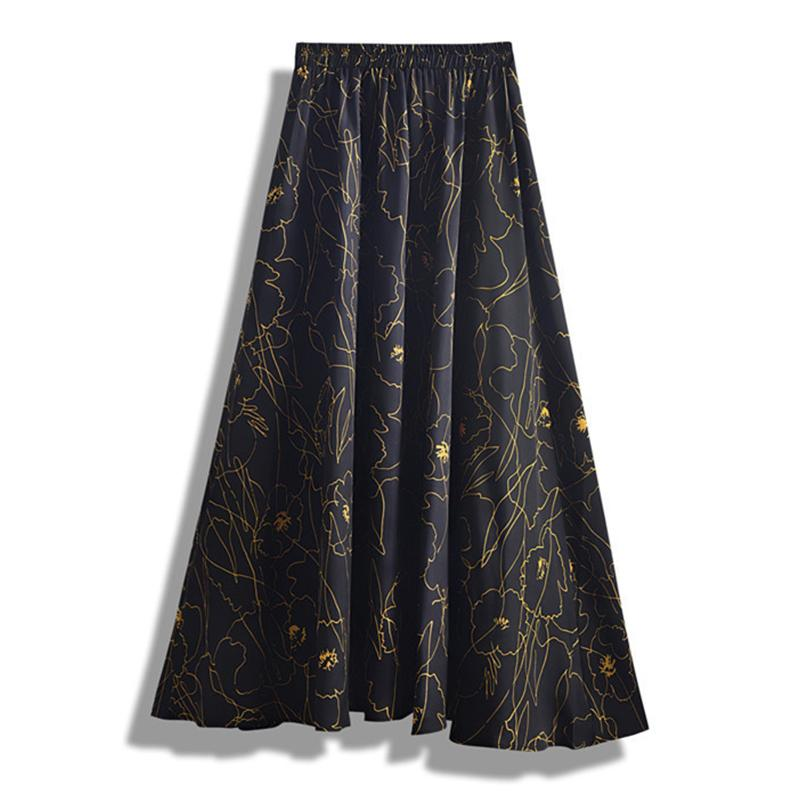 FASHION BIG HEM A LINE HIGH WAIST LONG SKIRT