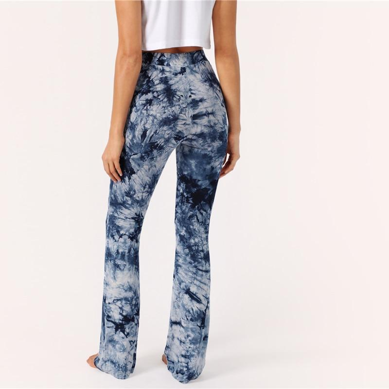 Multicolor High Waist Tie Dye Flare Long Trousers