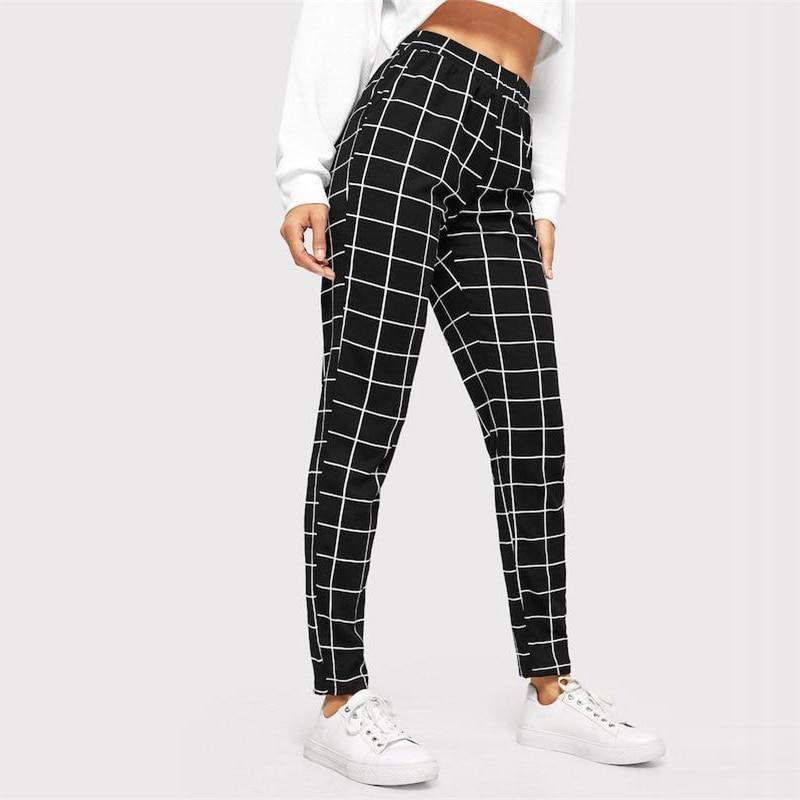 Casual Slim Fit Black Plaid Mid Waist Streetwear Pant