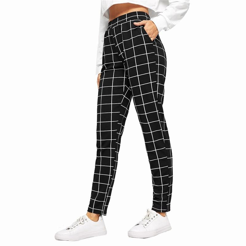 CASUAL SLIM FIT BLACK PLAID MID WAIST STREETWEAR PANT | SRIMOYEE FASHION WORLD