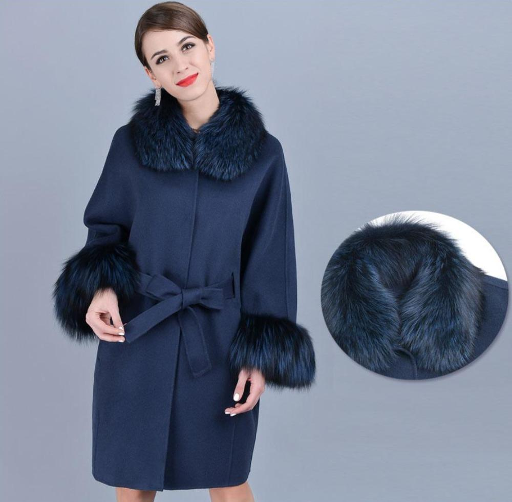 Winter Sleeve Collar Genuine Fur Cashmere Coat