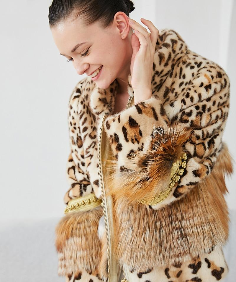REAL MINK FUR IMPORT VELVET LEOPARD CONTRAST COAT | SRIMOYEE FASHION WORLD