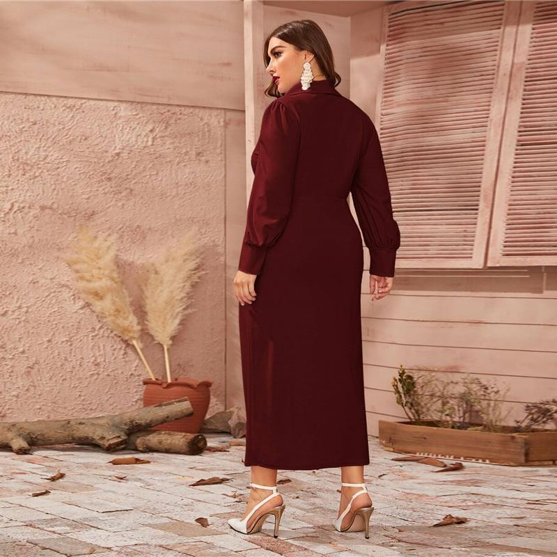BURGUNDY LANTERN SLEEVE  ELEGANT FITTED MAXI DRESS | SRIMOYEE FASHION WORLD
