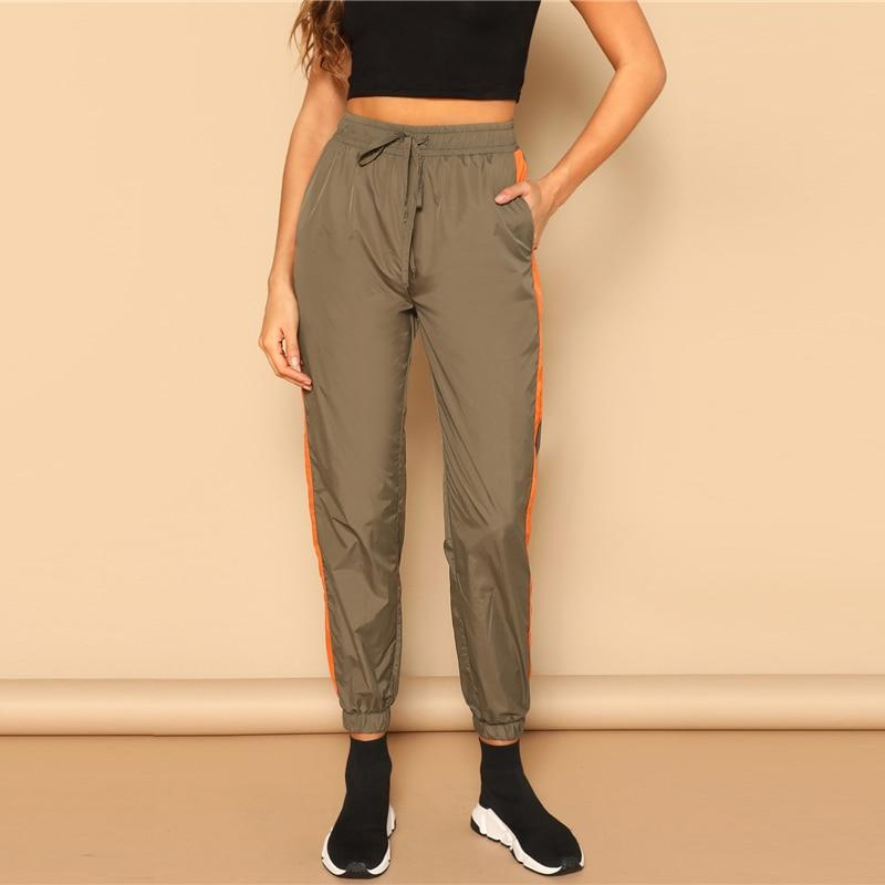 Army Green Drawstring Waist Contrast Capris