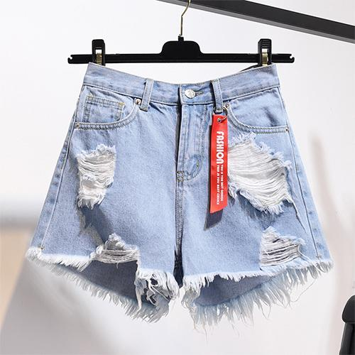 High Waist Plus Size Pocket Tassel Hole Ripped Denim Shorts