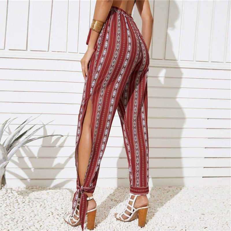 BURGUNDY SPLIT KNOTTED SIDE BELTED TRIBAL PRINT PANTS | SRIMOYEE FASHION WORLD