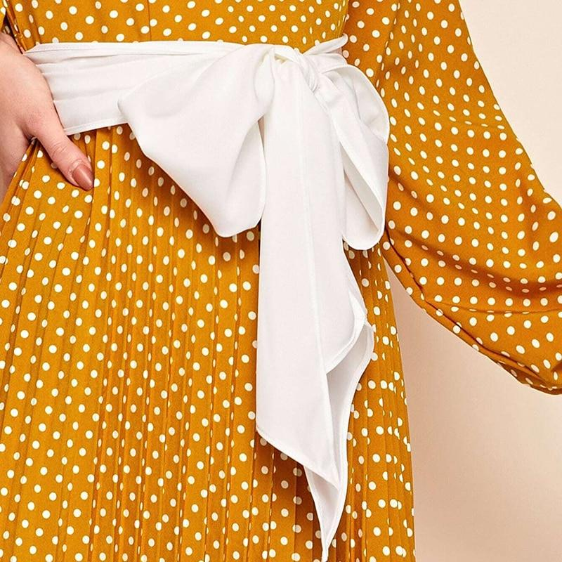 POLKA DOT A-LINE ELEGANT HIGH WAIST LONG DRESS | SRIMOYEE FASHION WORLD
