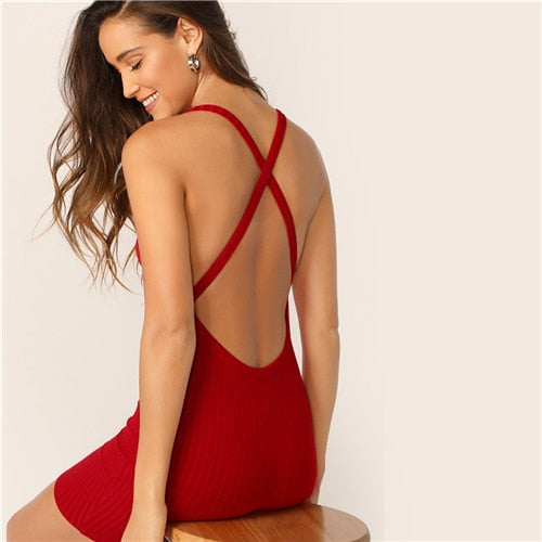 Red Crisscross Backless Spaghetti Strap Dress