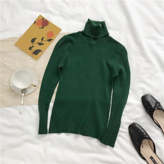 Knitted Ribbed Long Sleeve Turtleneck Slim Jumper