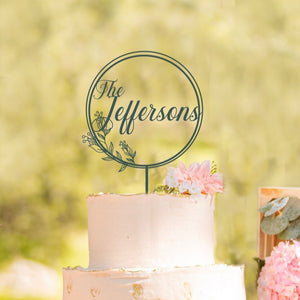 Custom Circle Botanical Cake Topper