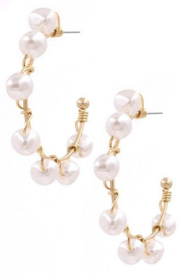 Wire Pearl Hoop Earrings
