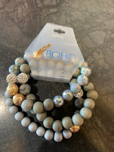 Grey Beaded Bracelet Set