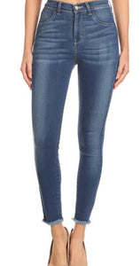 Medium Wash Encore Jeans With Distressed Ankle