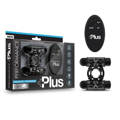 Performance Plus - Double Thunder - Wireless Remote Rechargeable Vibrating Cock Ring - Black BL-79905