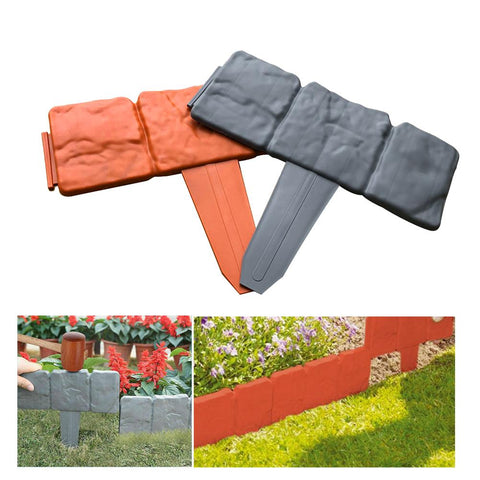 20Pcs Grey / Orange Garden Fence Edging
