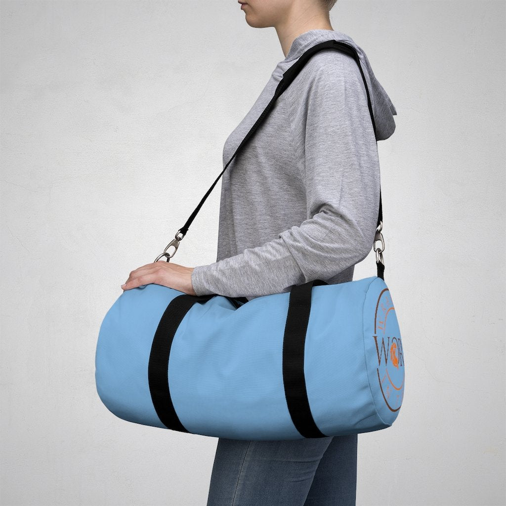 Sky Blue Wrapped in the Word Duffel Bag