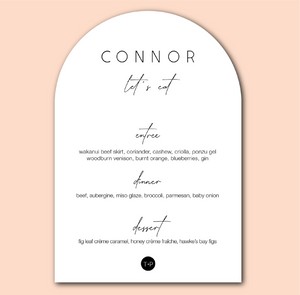 The Connor - Arch Wedding Menu