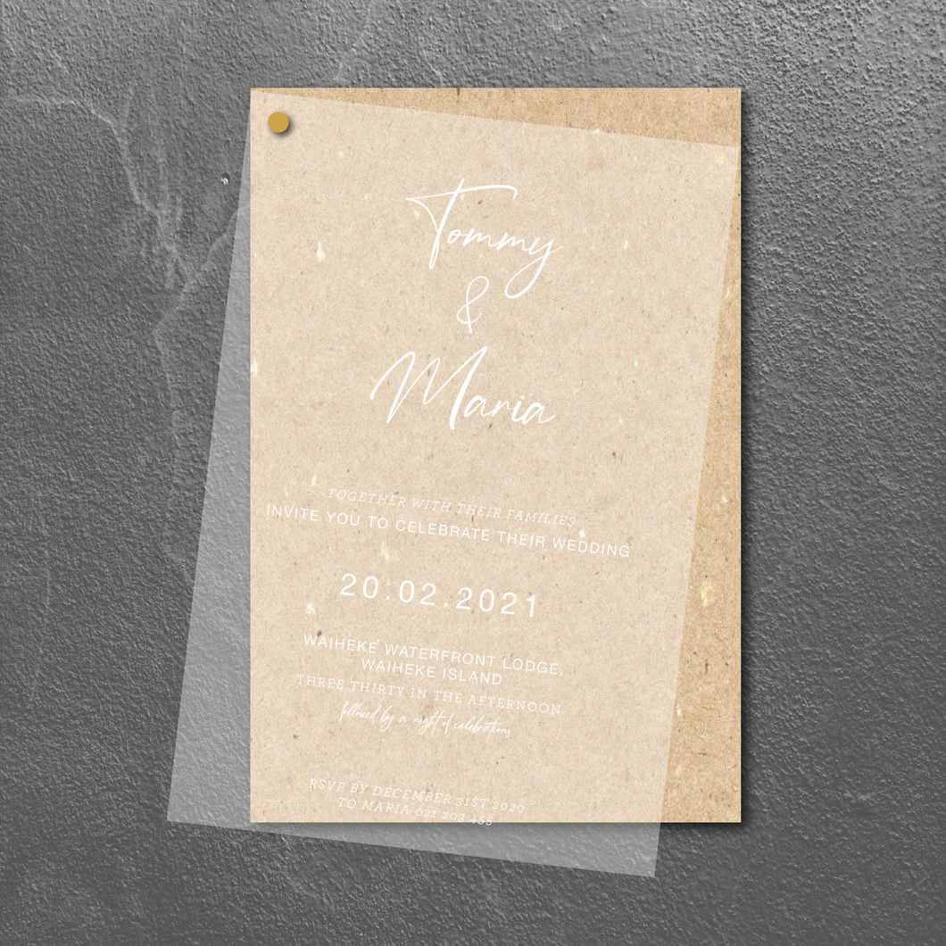 The Maria (White Ink on Transparent) - Wedding Invitation