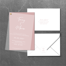 Load image into Gallery viewer, The Maria (White Ink on Transparent) - Wedding Invitation