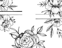 5 x Peony linework - tattoo design download