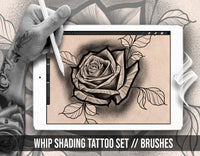 10 brushes specially designed for Black and Grey whip tattoo shading for procreate app