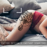 5 x Realistic roses with precious stone  tattoo design high resolution download