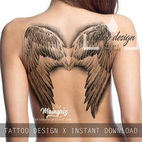 Realistic Wings  tattoo design high resolution download