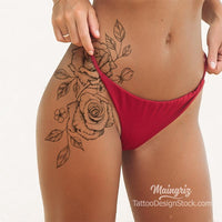2 sexy roses tattoo design