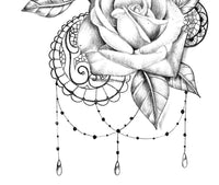 3 x Realistic rose with lace tattoo design high resolution download