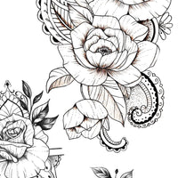 5 Oriental roses - tattoo design download #1
