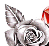 Realistic rose with sexy precious stone tattoo design high resolution download