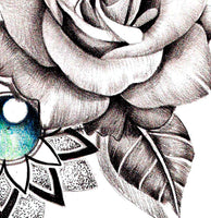Realistic rose and precious stone and mandala  tattoo design high resolution download