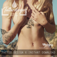 Realistic diamond with rose tattoo design high resolution download