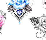 5 x Realistic roses with precious stone - download tattoo design