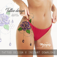 5 x precious stone with sexy realistic roses  tattoo design high resolution download
