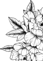 Half sleeve peony linework sexy tattoo design high resolution download